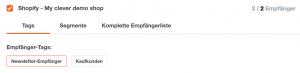 Shopify Tags auswählen während Newsletter-Erstellung - CleverReach