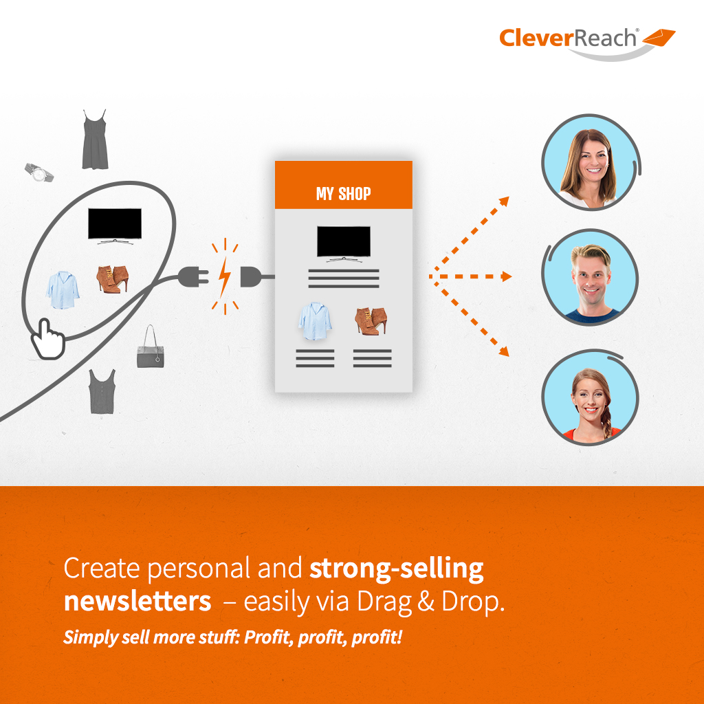 Screenshot: create personal and strong-selling newsletters via frag and drop