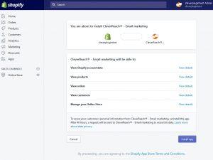 CleverReach: Im Shopify Backend können Sie die CleverReach® App installieren.