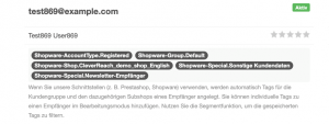Shopware Integration Tags werden automatisch angelegt - CleverReach