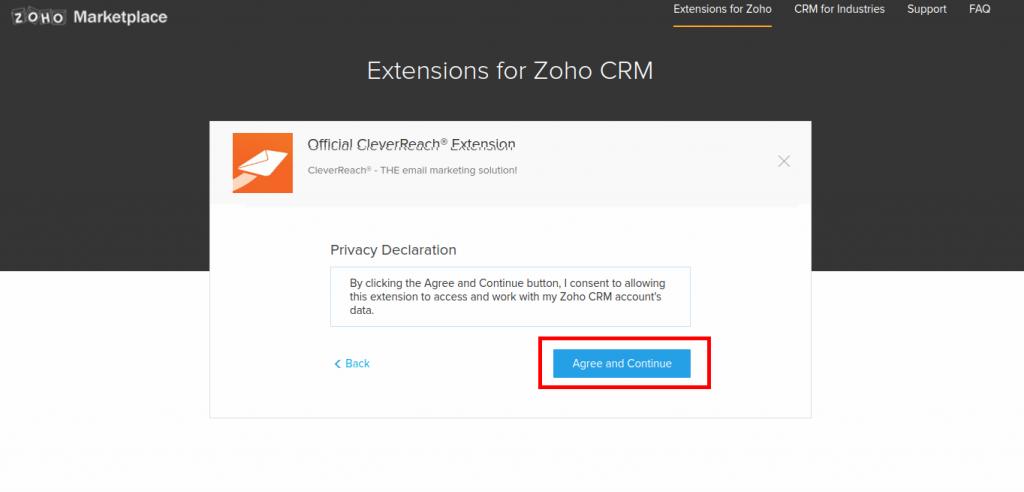 CleverReach® Zoho CRM der Datenschutzerklärung zustimmen.