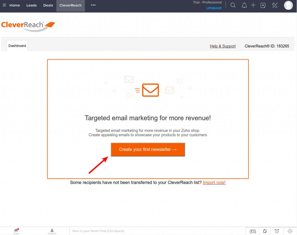 CleverReach Zoho CRM den ersten Newsletter erstellen