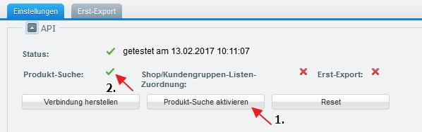 Shopware CleverReach Produktsuche aktivier