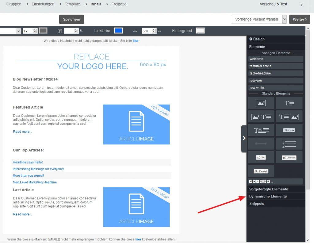 Shopware-CleverReach-Produktsuche-dynamisches Element einfügen