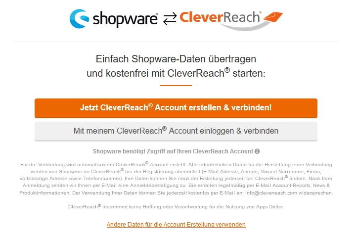 Shopware cleverreach verbinden