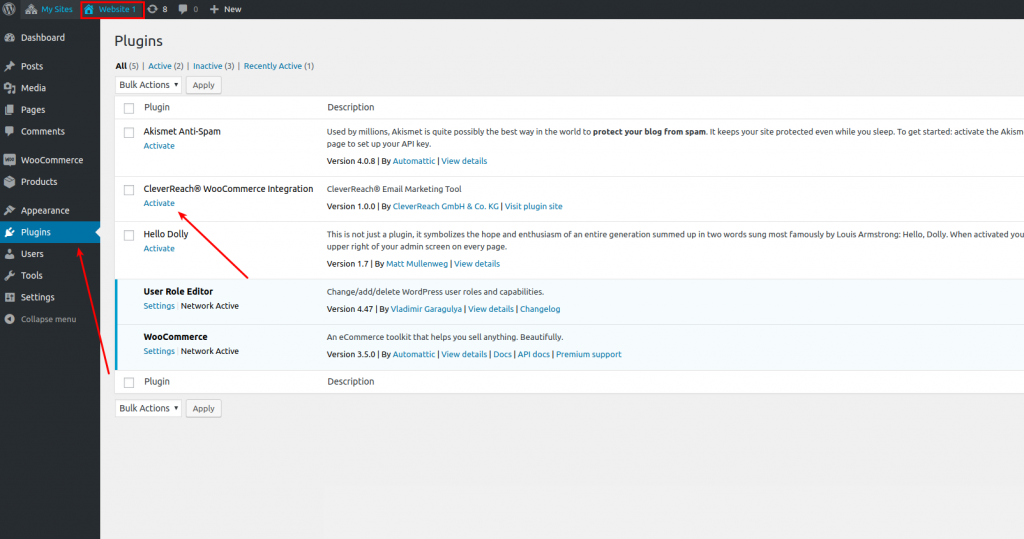 CleverReach®-WooCommerce-Plugin-aktivieren-mit-Multi-Site-nur-für-eine-Seite