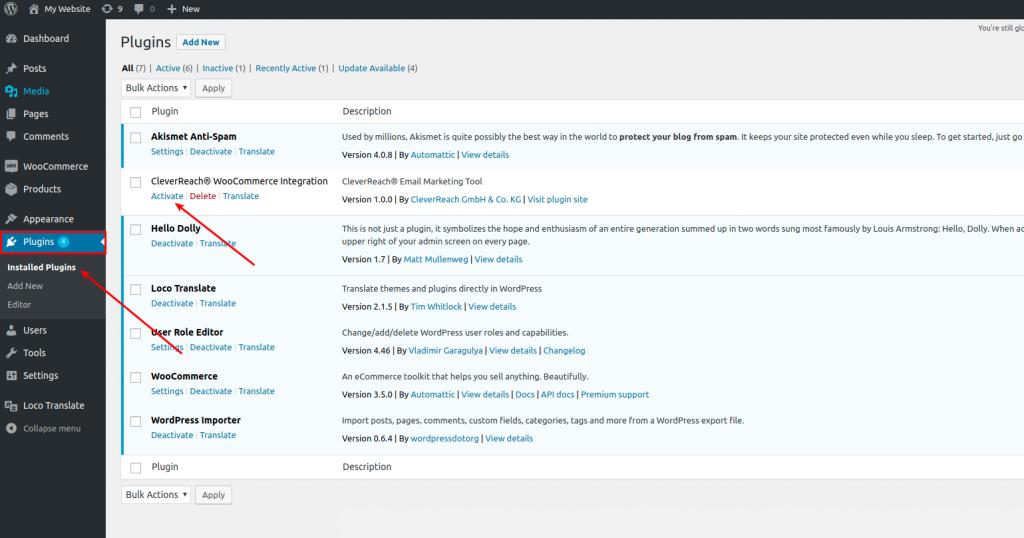 CleverReach®-WooCommerce-Plugin-activate single site