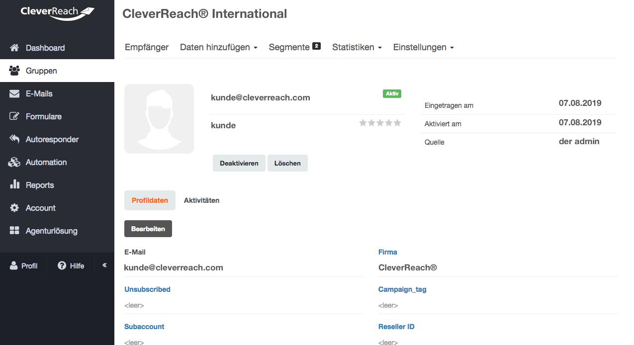 CleverReach® - Empfängerprofile verwalten und Segmentieren: Analysieren Sie Ihre Kunden und erstellen Sie so Empfängerprofile und Empfängerlisten - mit CleverReach® segmentieren Sie Ihre Kunden z.B. nach Interessengebieten.