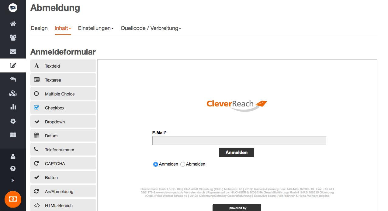 An- und Abmeldeformulare können einfach per Quellcode in Ihre Webseite eingebunden werden