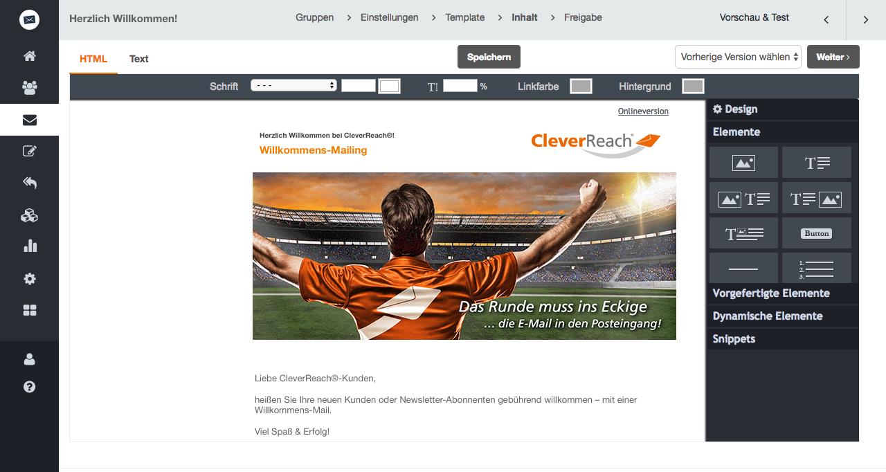 screenshot: Heißen Sie Ihre neuen Kunden oder Newsletter-Abonnenten gebührend willkommen – z.B. mit einer Willkommens-Mail