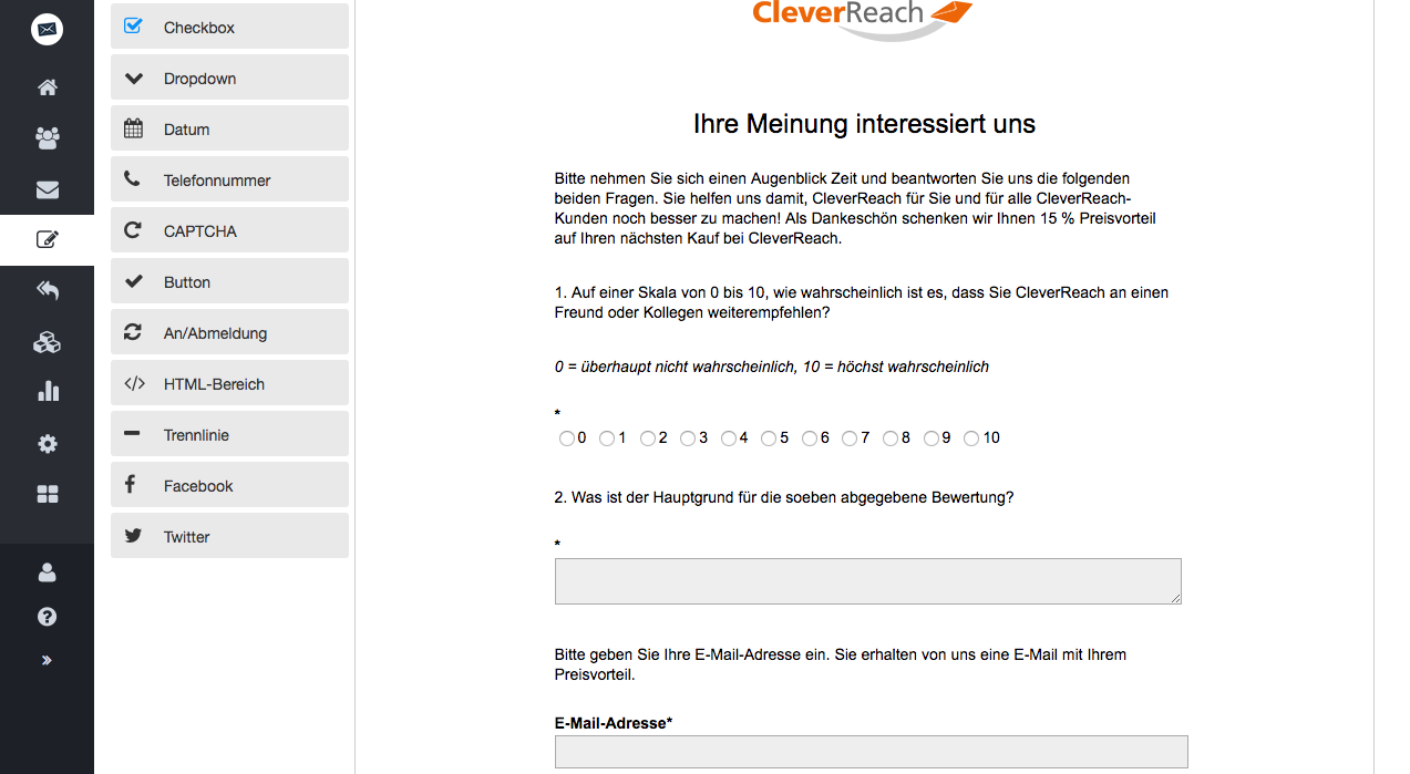 screenshot: vollautomatisierte mailings umfragemails