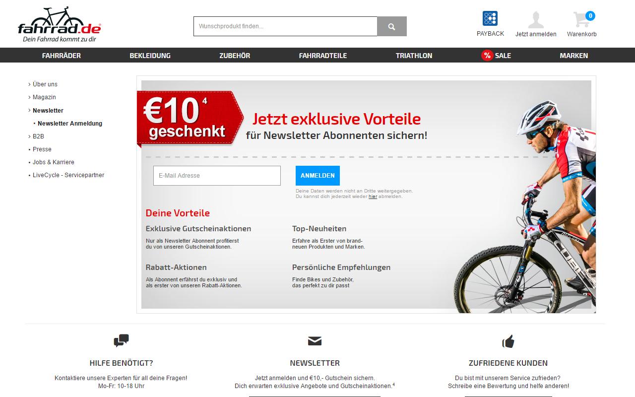 fahrrad.de Anmeldeformular