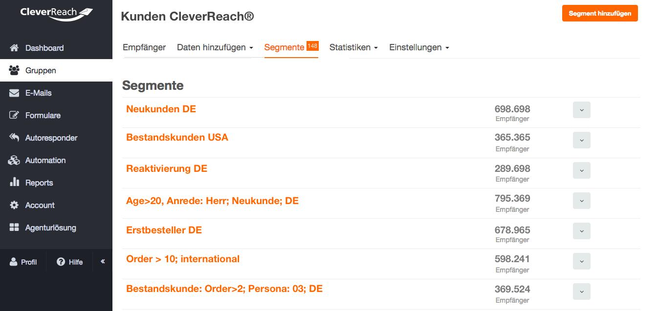 screenshot: Filtern (Segmentieren) Sie Ihre Empfängerliste, um Ihre Zielgruppe individuell anzusprechen