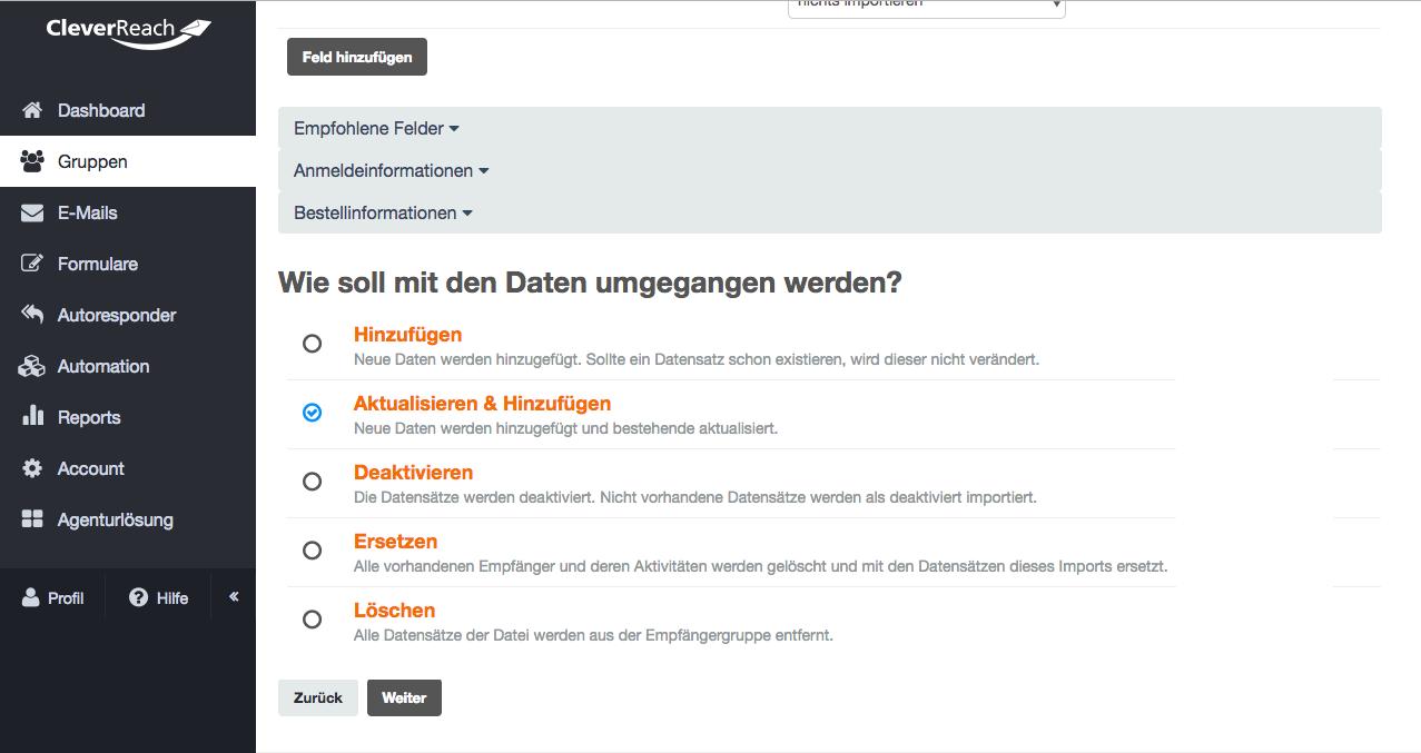 Screenshot: Sie haben innerhalb der Importfunktion folgende Optionen: