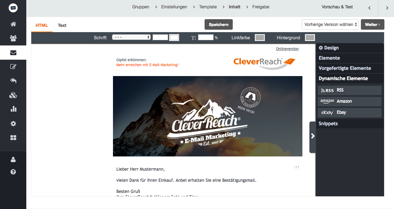 screenshot: Mit CleverReach® RSS Inhalte mühelos aktuelle Newsletter verschicken
