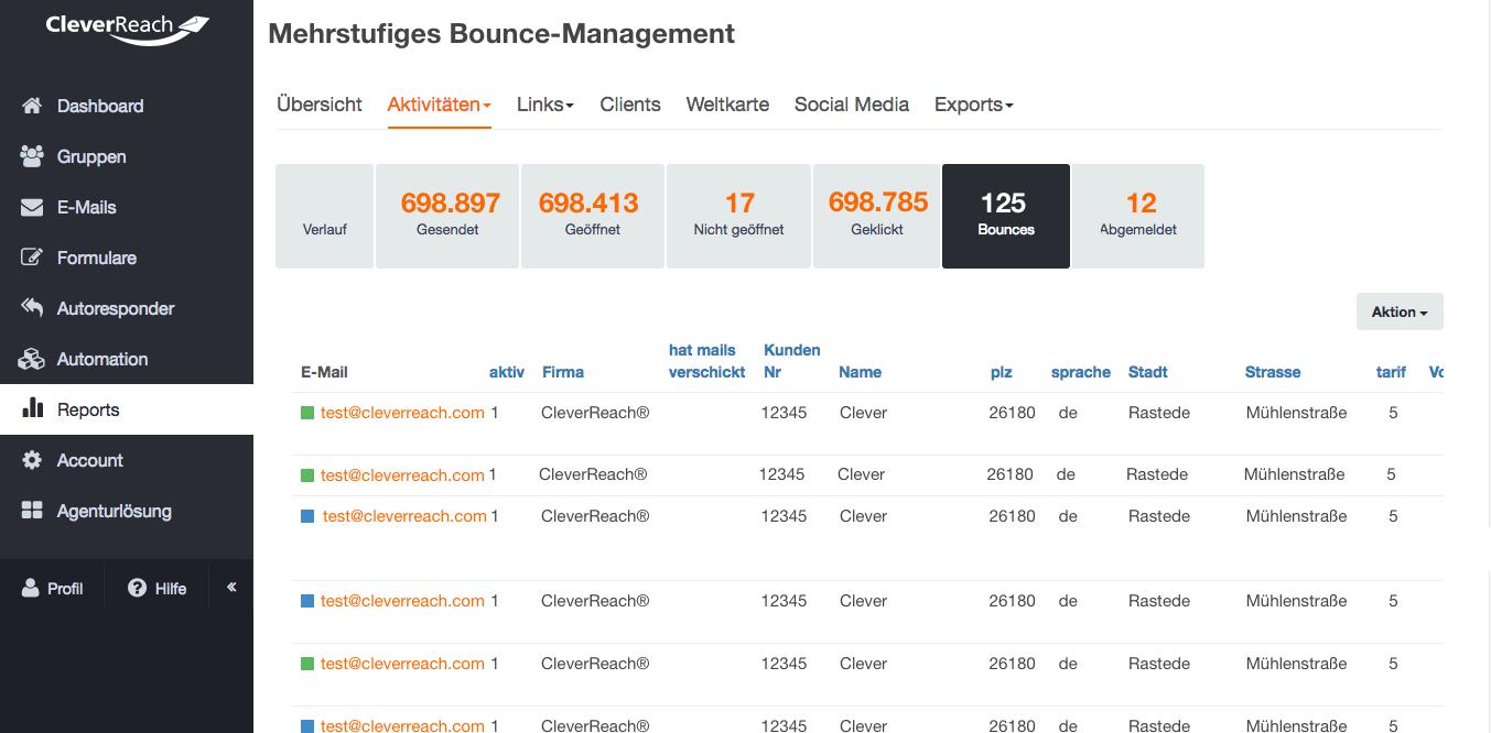 screenshot: Wie wir bei CleverReach® die Bounce-Rate durch mehrstufiges Bouncemanagement wirksam (für Sie?) senken