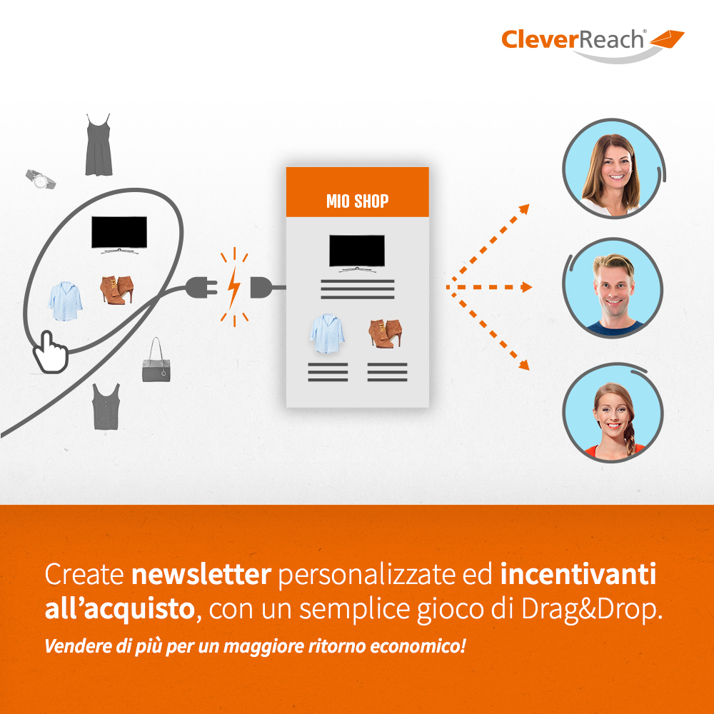 screenshot: connect PrestaShop and cleverreach® - create strong-selling newsletters - easily via drag and drop