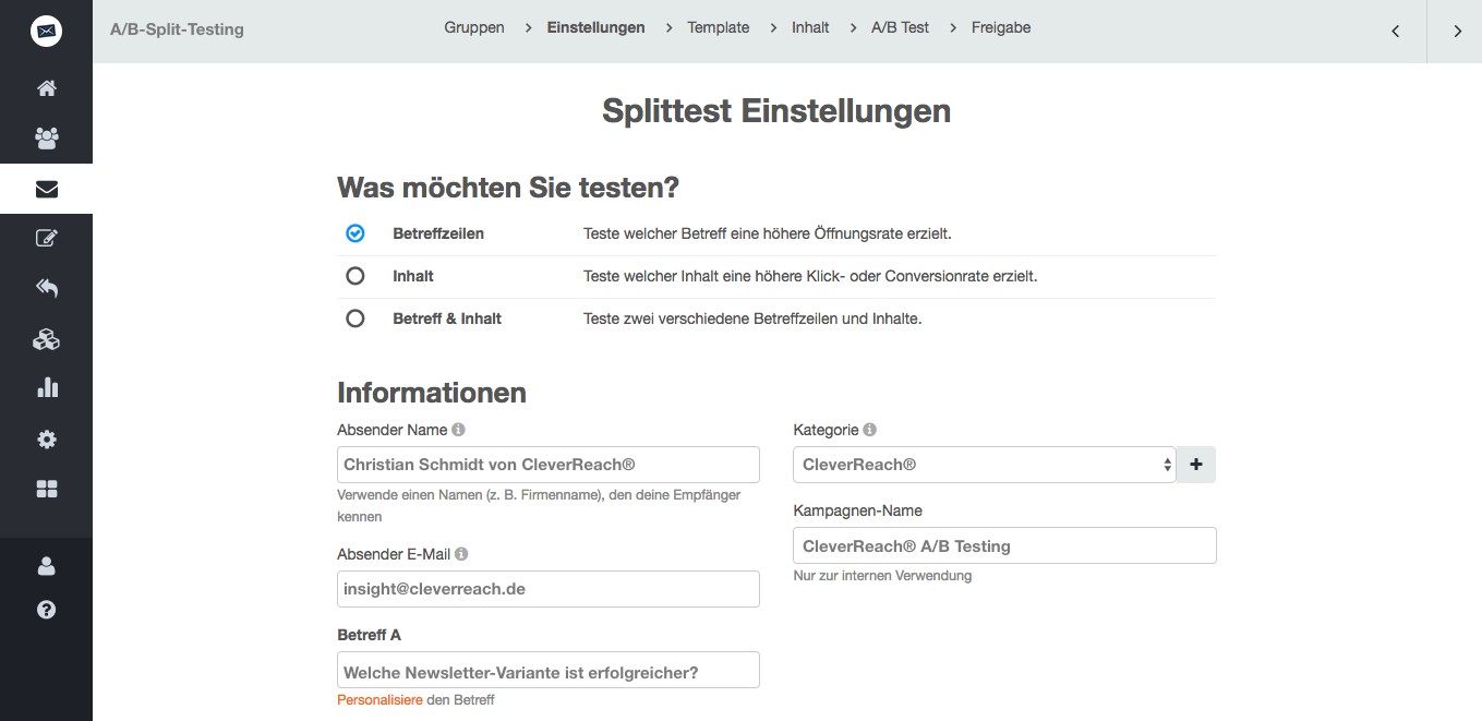 screenshot: Welche Newsletter-Variante ist erfolgreicher? Finden Sie es mit einem A/B-Split-Testing heraus