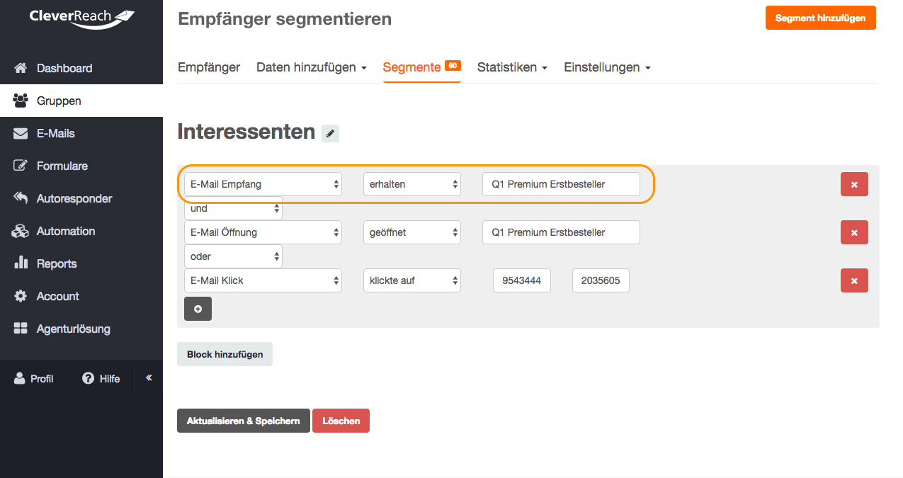 screenshot: So legen Sie ein Follow-Up-Segment an