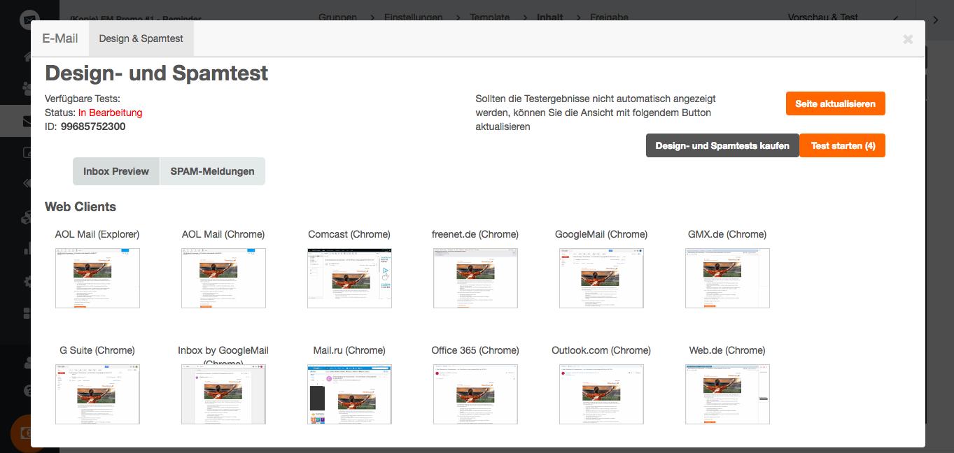 screenshot: Darstellungs-Test in allen gängigen E-Mail-Clients mit dem Design- und Spamtest
