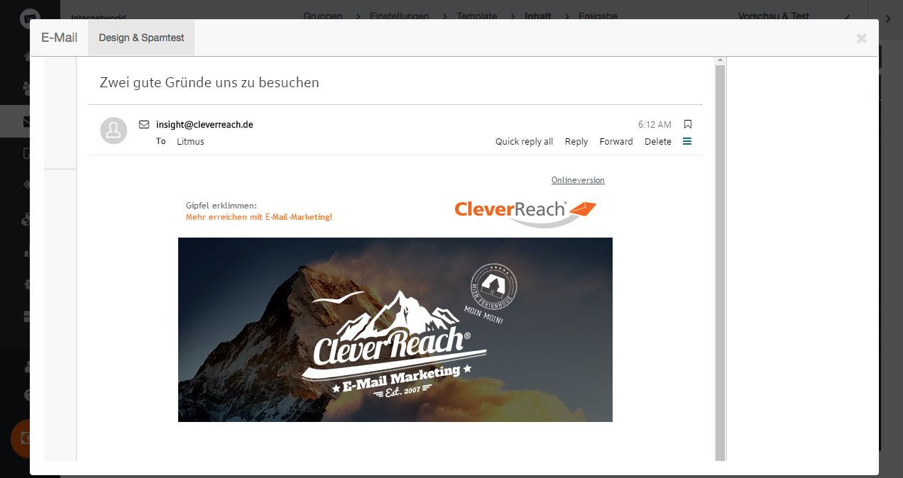 Design- und Spam-Tests: Newsletter Client Testing