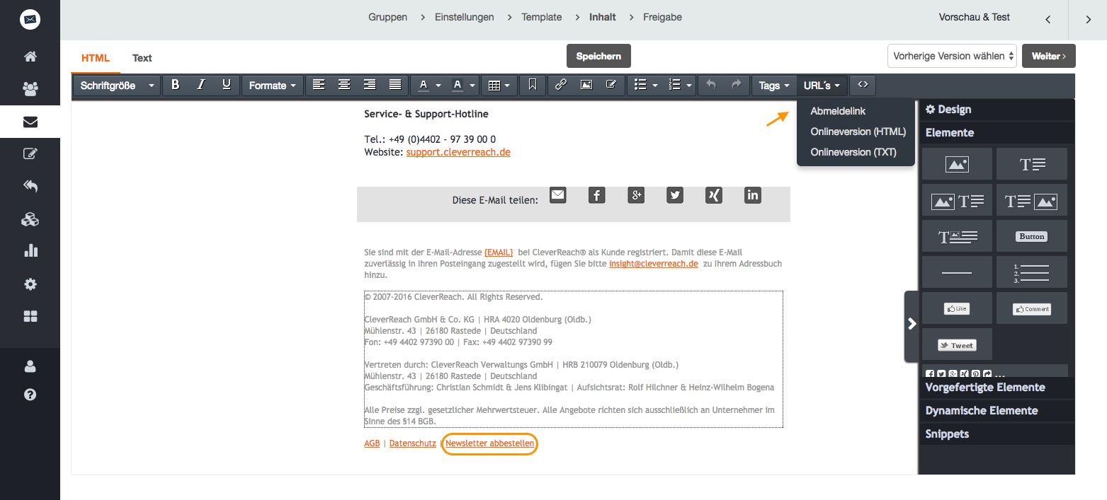 screenshot: Automatisch integrierter Abmeldelink in jedem Newsletter