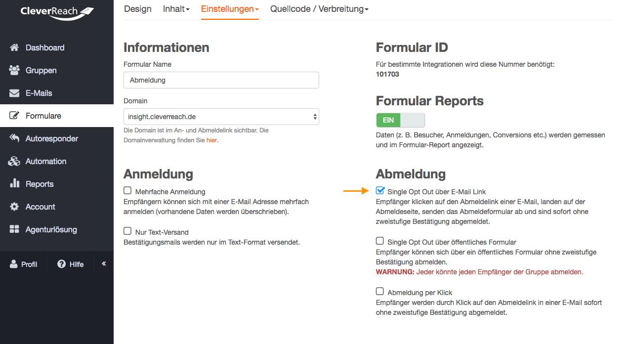screenshot: Bei jedem CleverReach®-Mailing wird ganz automatisch ein Link zur Abmeldung generiert und in Ihren Newsletter integriert. Dadurch haben Sie die Sicherheit, dass Sie bei der Newsletter-Erstellung mit CleverReach® diese wichtige gesetzliche Vorgabe nicht versehentlich vergessen
