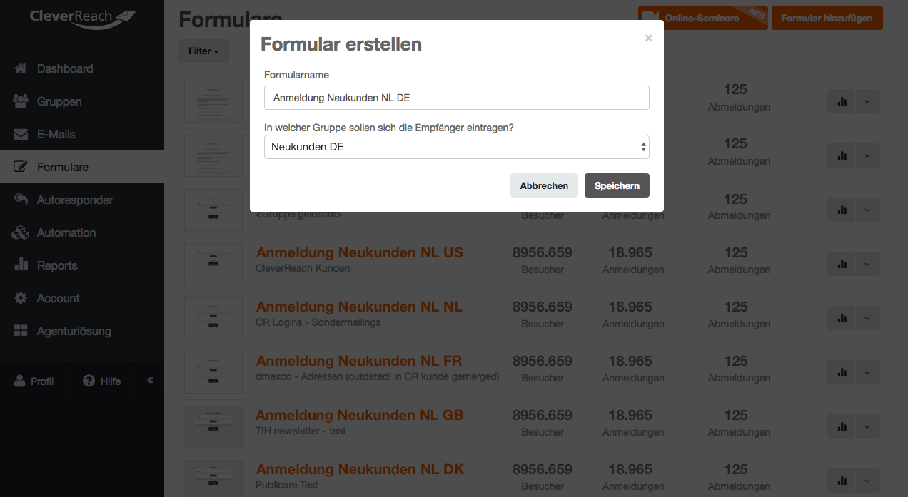 screenshot: so erstellen Sie Ihr eigenes DOI-Anmeldeformular