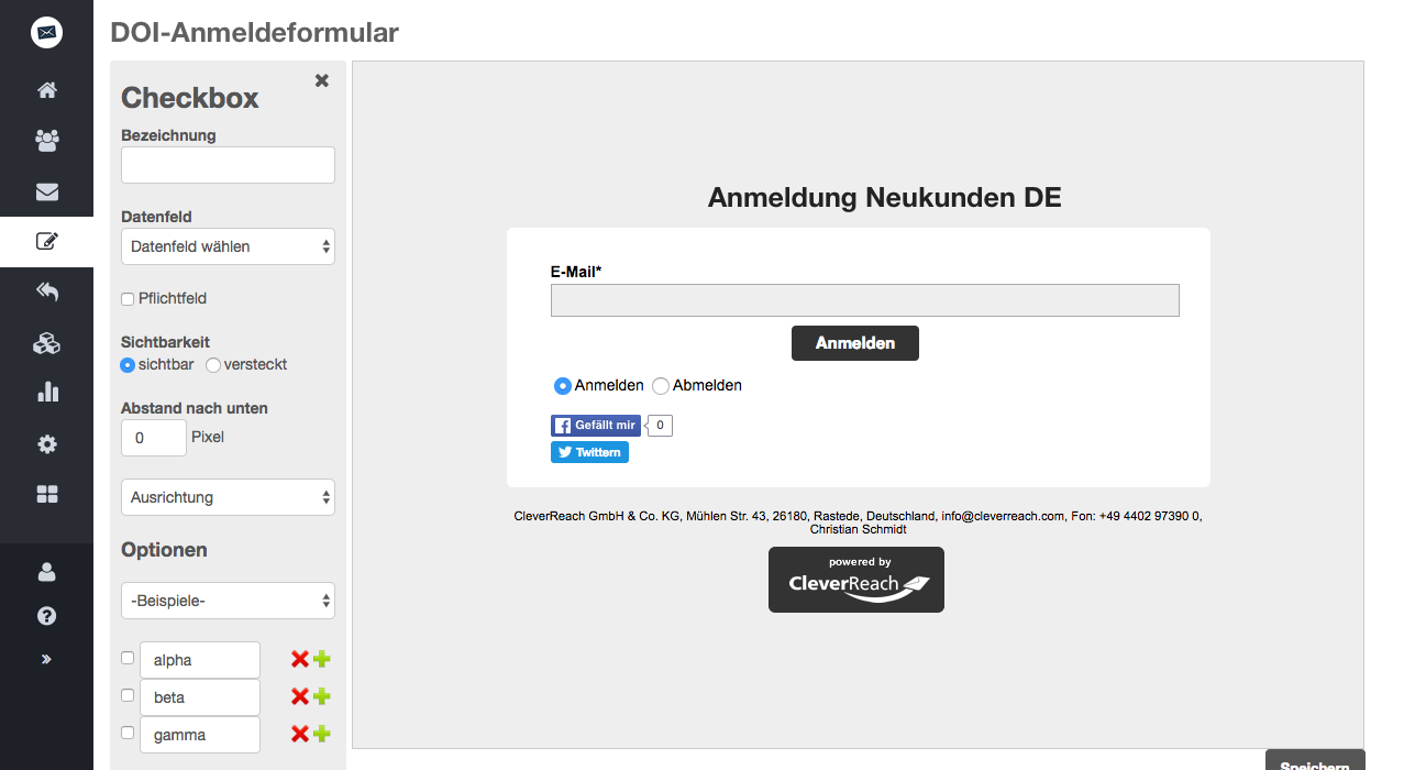 screenshot: Formular konfigurieren