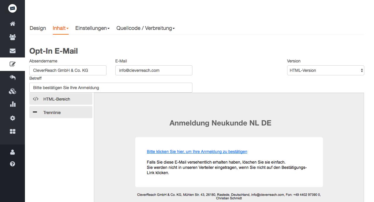 screenshot: So einfach erstellen Sie Ihr kostenloses DOI-Anmeldeformular für Ihren Newsletter