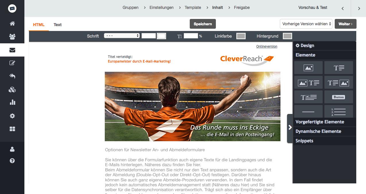 screenshot: Weitere Optionen für Newsletter An- und Abmeldeformulare