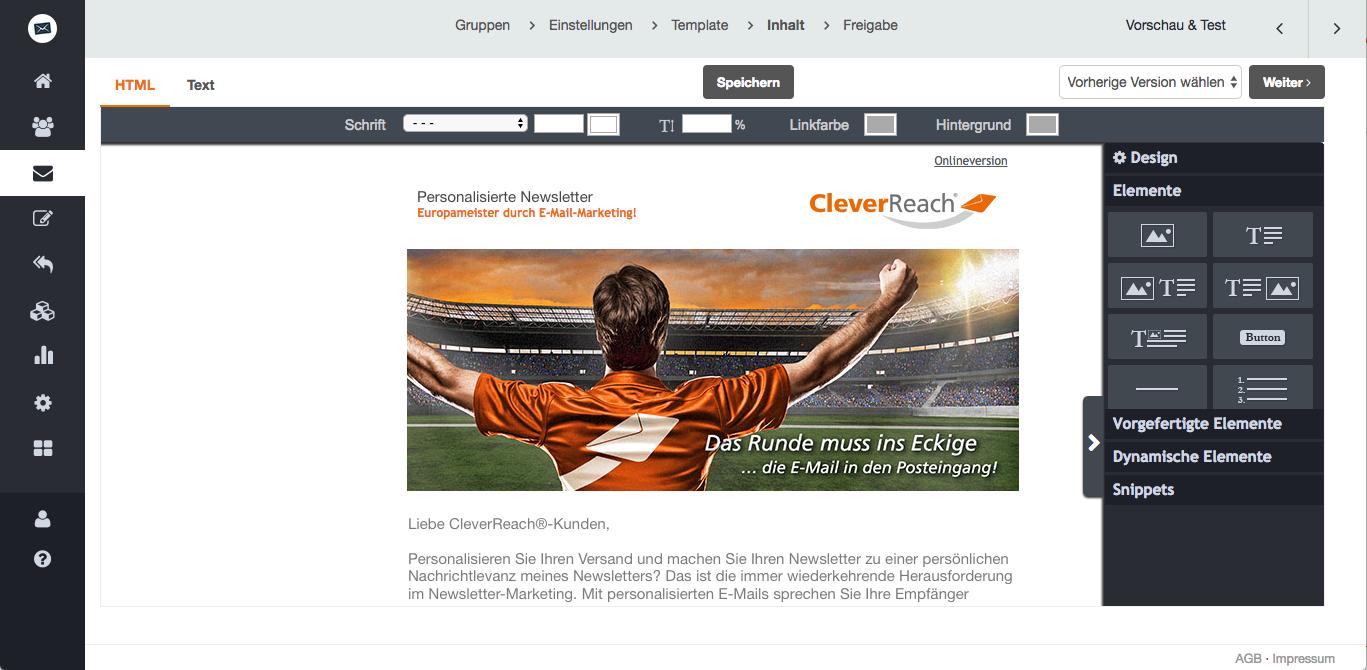 screenshot: Personalisieren Sie Ihren Versand und machen Sie Ihren Newsletter zu einer persönlichen Nachricht