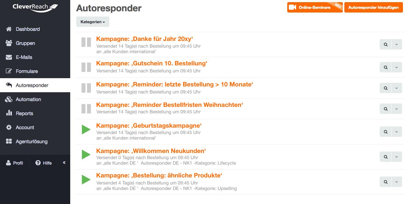 screenshot: Mit Autoresponder und Follow-Ups automatisiert E-Mails versenden