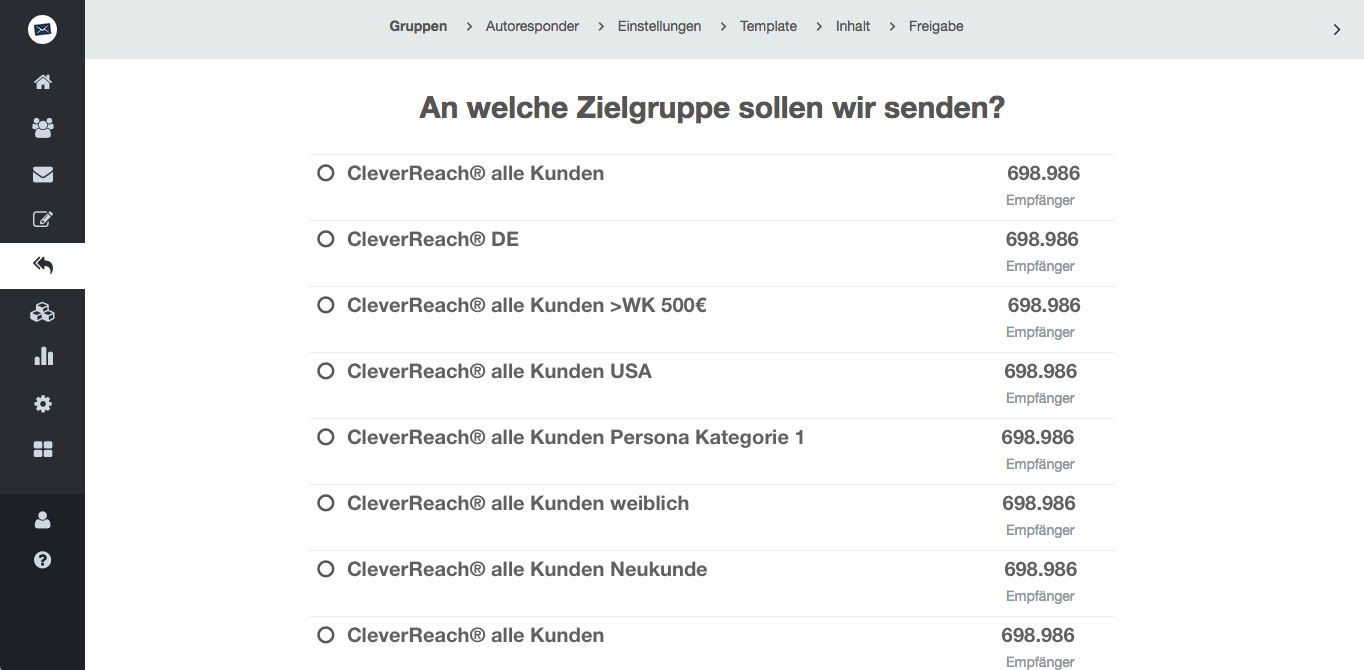 screenshot: Wählen Sie die neu angelegte Empfängergruppe aus.