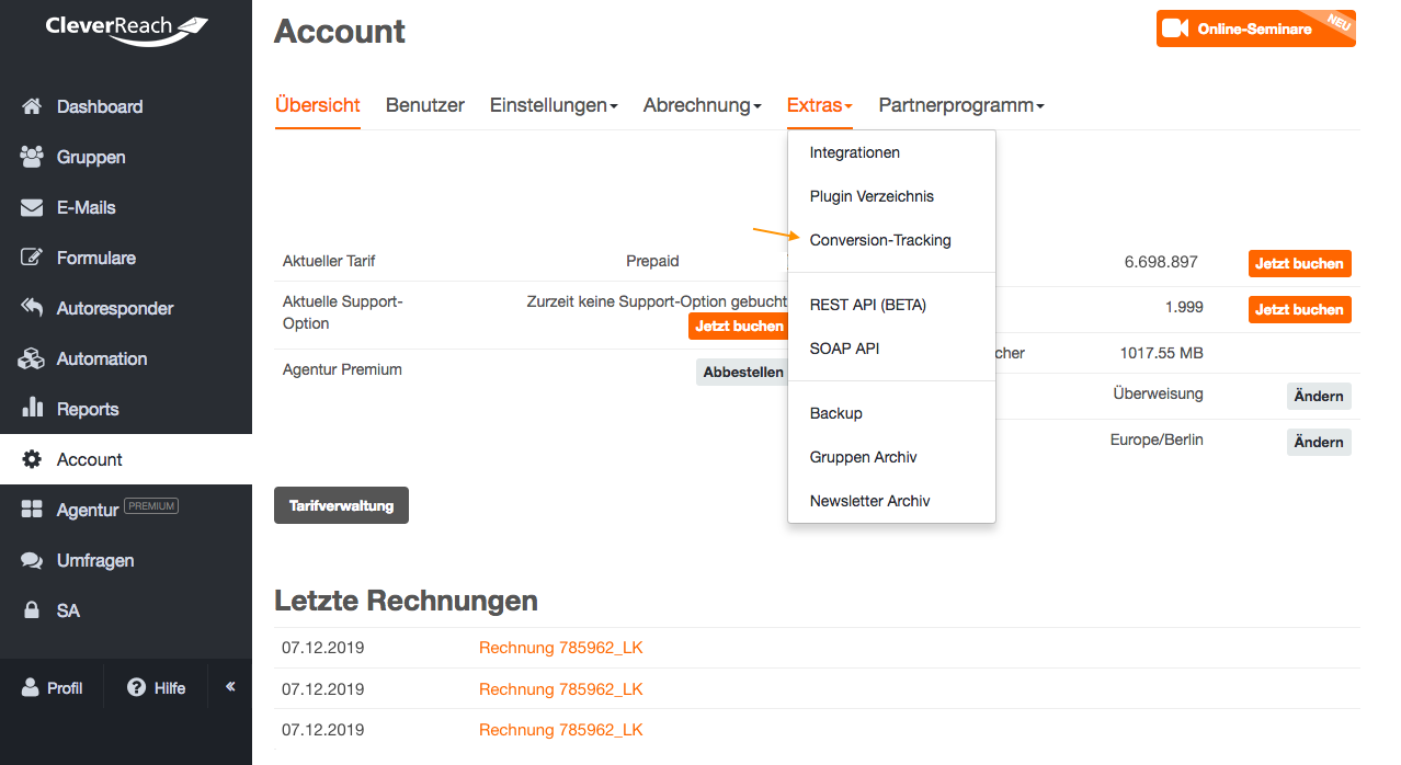 screenshot: Was wird mit dem Conversion Tracking gemessen?