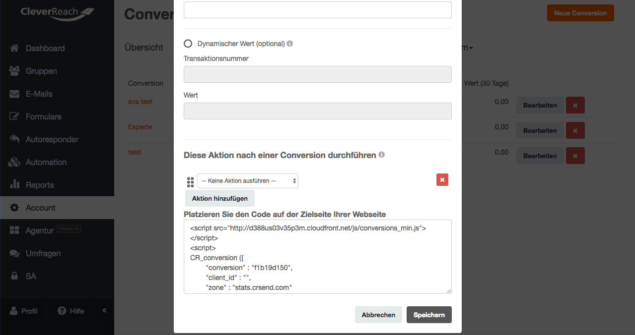 screenshots: So richten Sie das Conversion Tracking in CleverReach® ein