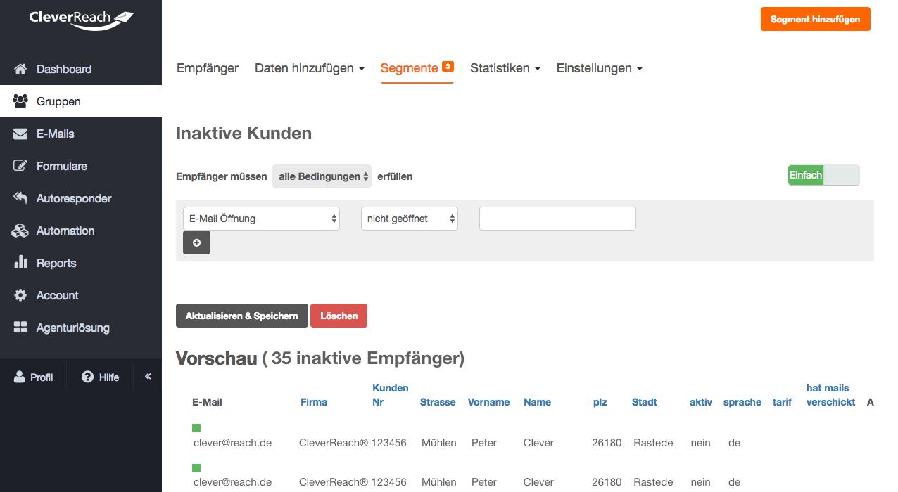 screenshot: Inaktive Empfänger zurückgewinnen