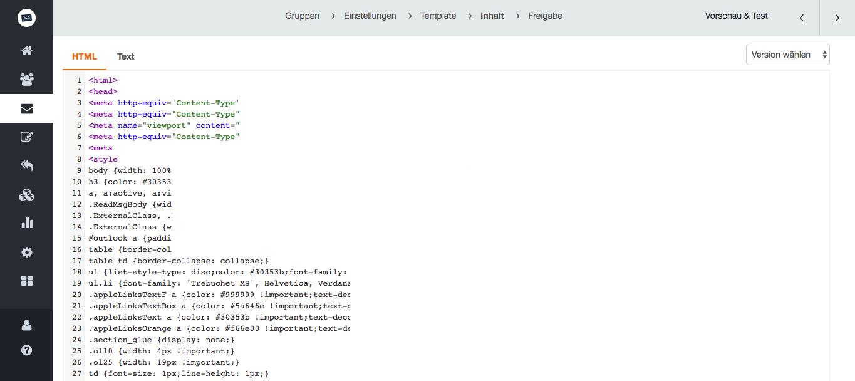 screenshot: Der Quelltext Editor ist, wie bereits erwähnt, nur für sehr erfahrene Anwender gedacht