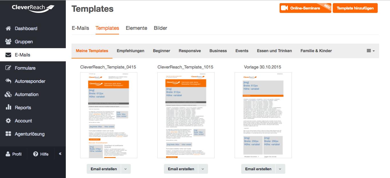 screenshot: Individuelle Newsletter-Vorlagen gestalten und im CleverReach® Drag&Drop-Editor nutzen