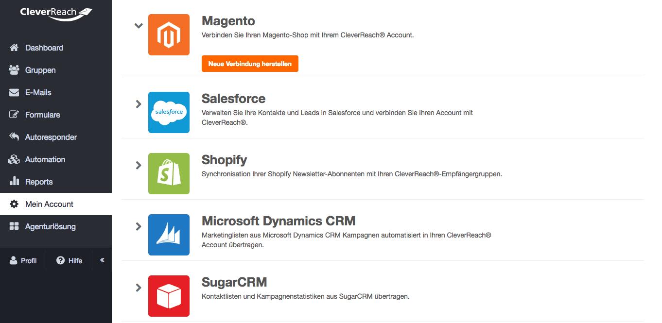 screenshot: Integrieren Sie Elemente Ihres Shops ganz einfach in Ihren Newsletter