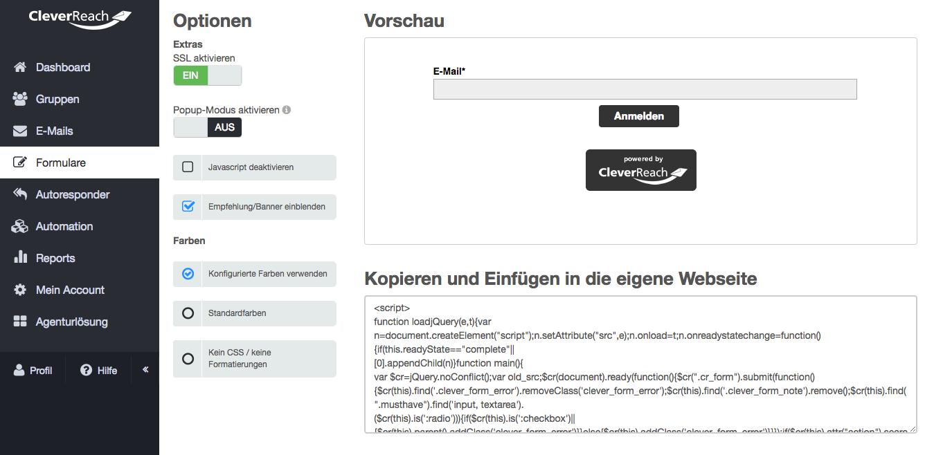 screenshot: So aktivieren Sie SSL in Ihren Formularen