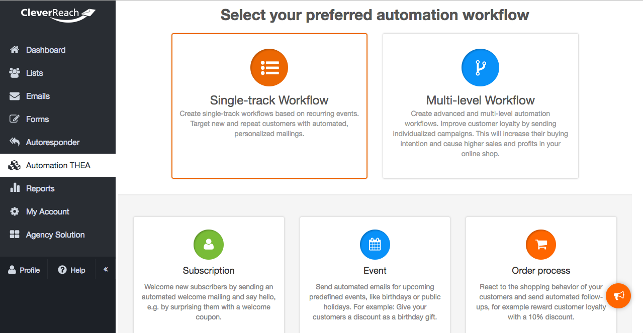scrennshot: THEA put into practice – Marketing Automation in 5 steps 1. Select an Automation type