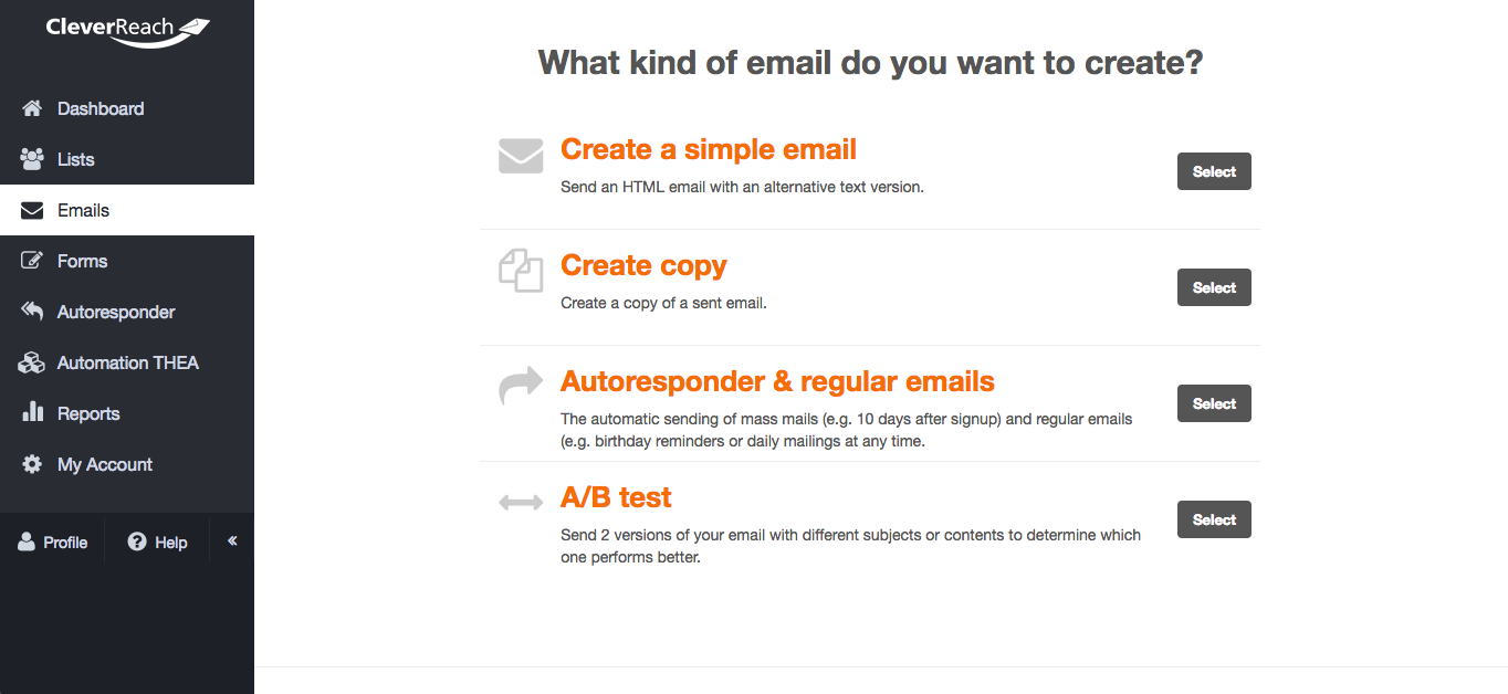 screenshot: Select a mailing type that fits your needs
