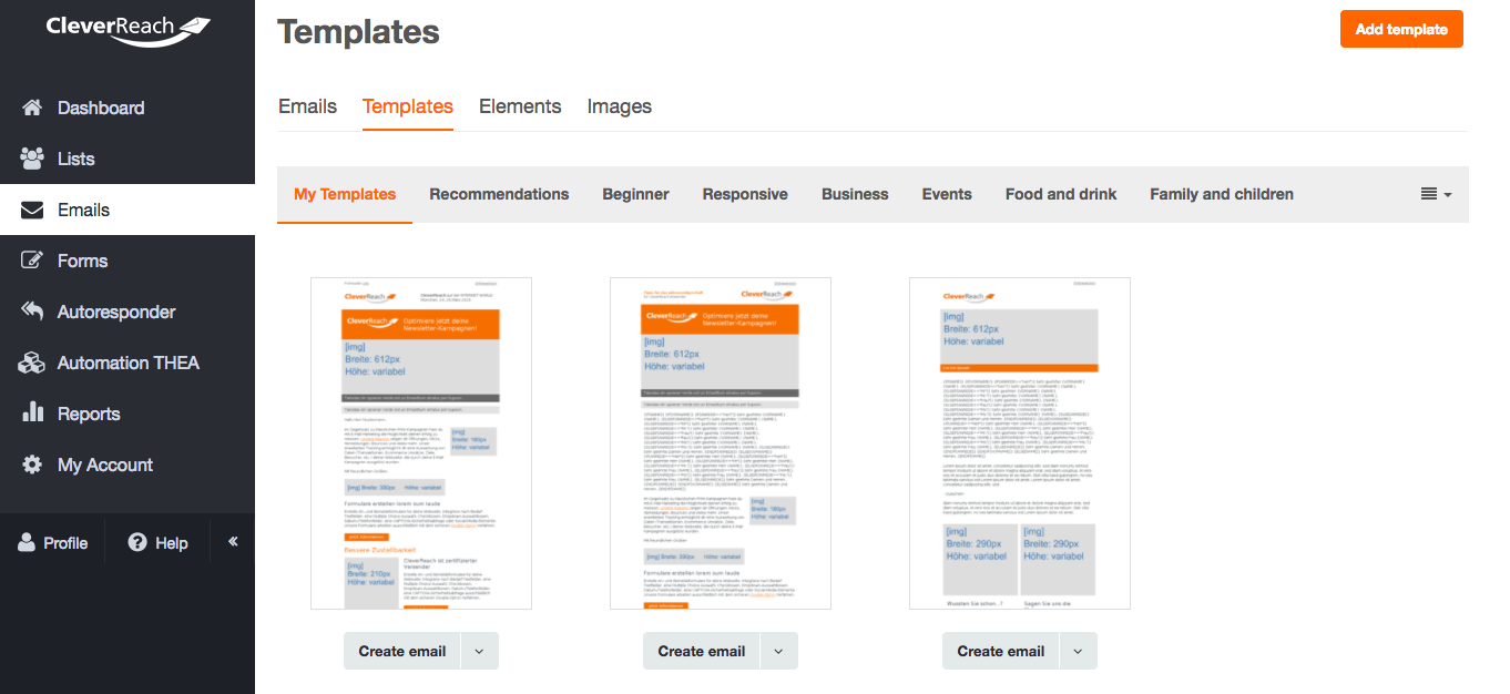 screenshot: The perfect look - our templates