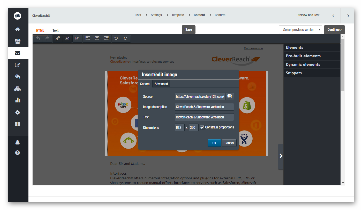 CleverReach® drag and drop newsletter editor: insert and edit images