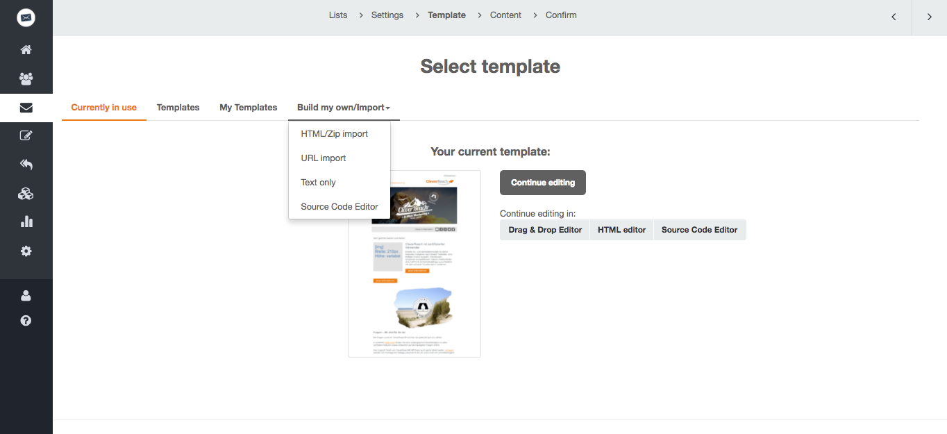 screenshot: Alternatively, there's the possibility to upload a HTML file during the creation process of your mailings.