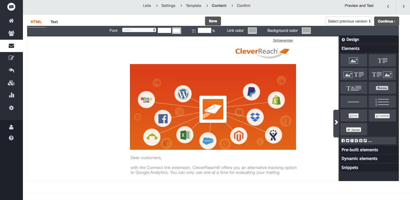 screenshot: cleverreach google analytics