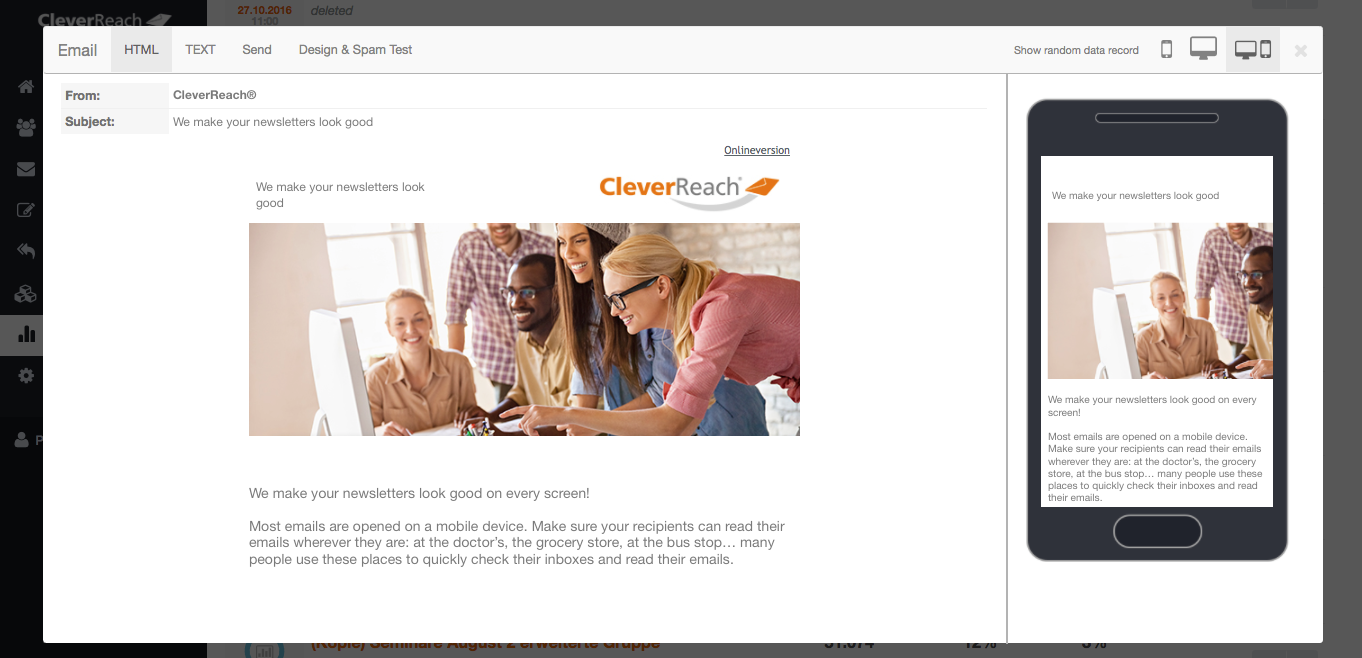 screenshot: cleverreach