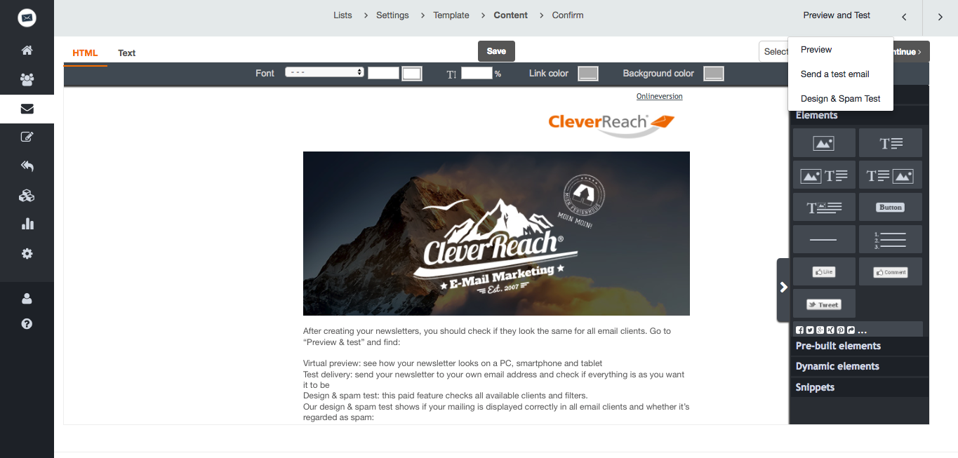 screenshot: cleverreach editor