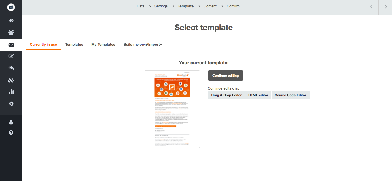 screenshot: CleverReach® offers you three editors to work on your newsletters: